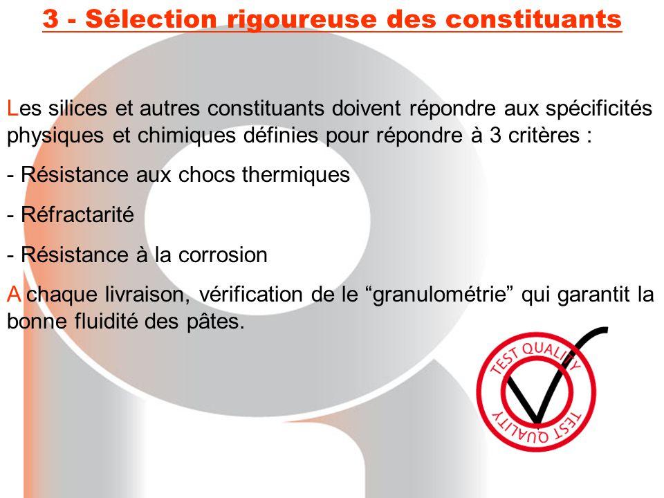 3 - Sélection rigoureuse des constituants