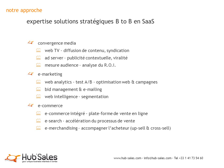 notre approche expertise solutions stratégiques B to B en SaaS