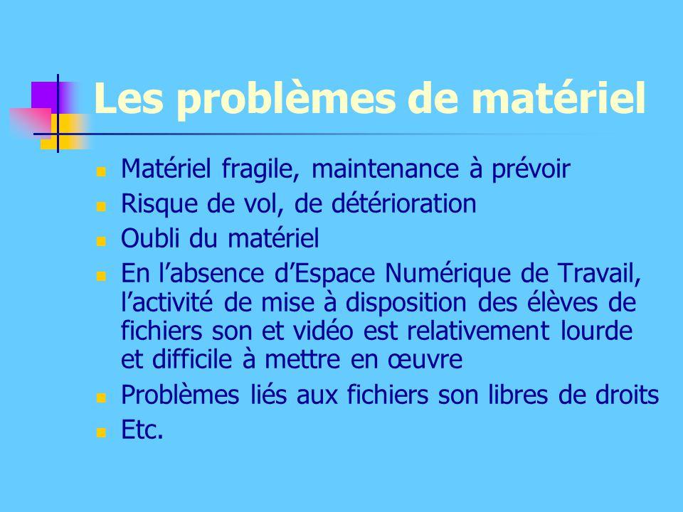 Les problèmes de matériel