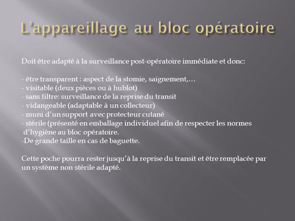 L'appareillage au bloc opératoire