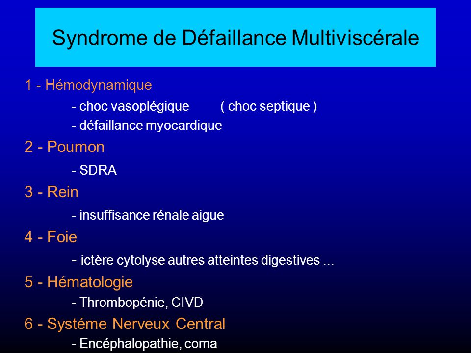 Syndrome de Défaillance Multiviscérale