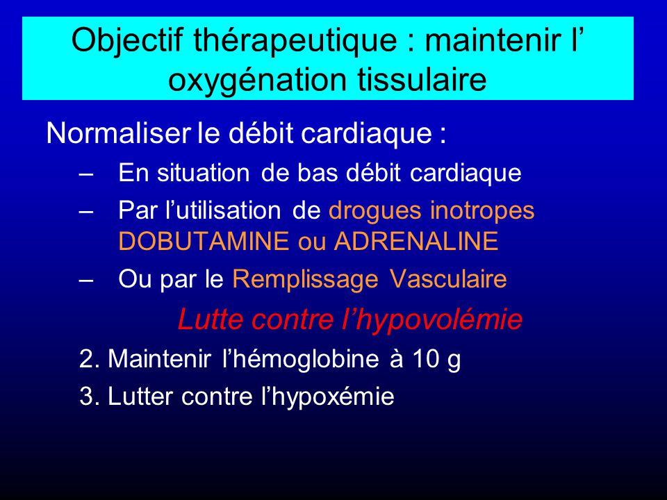 Objectif thérapeutique : maintenir l' oxygénation tissulaire