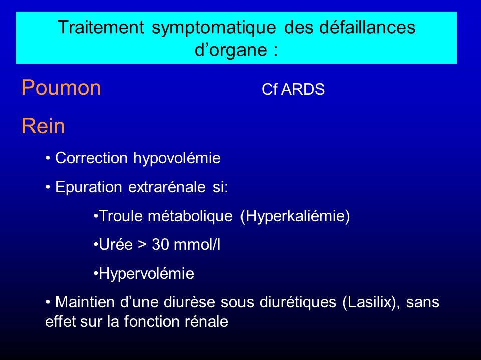 Traitement symptomatique des défaillances d'organe :