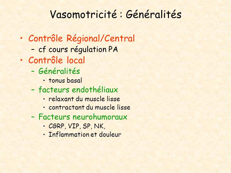Vasomotricité : Généralités