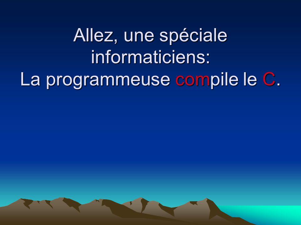 Allez, une spéciale informaticiens: La programmeuse compile le C.