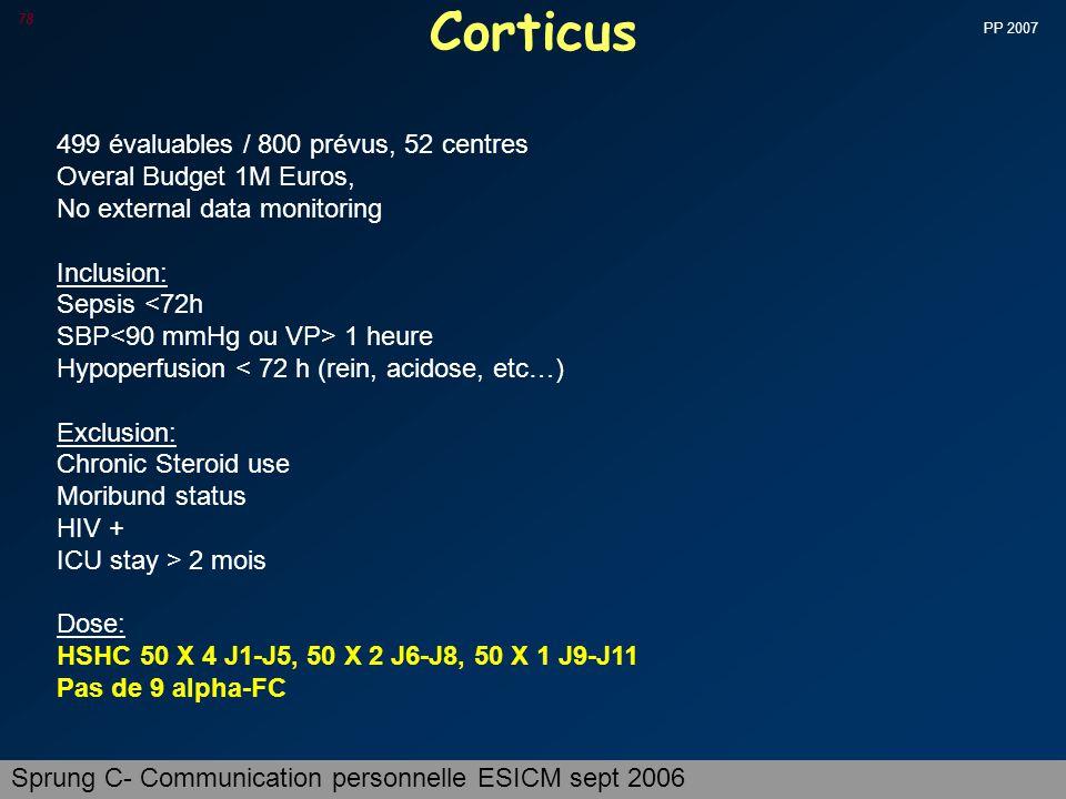 Corticus 499 évaluables / 800 prévus, 52 centres
