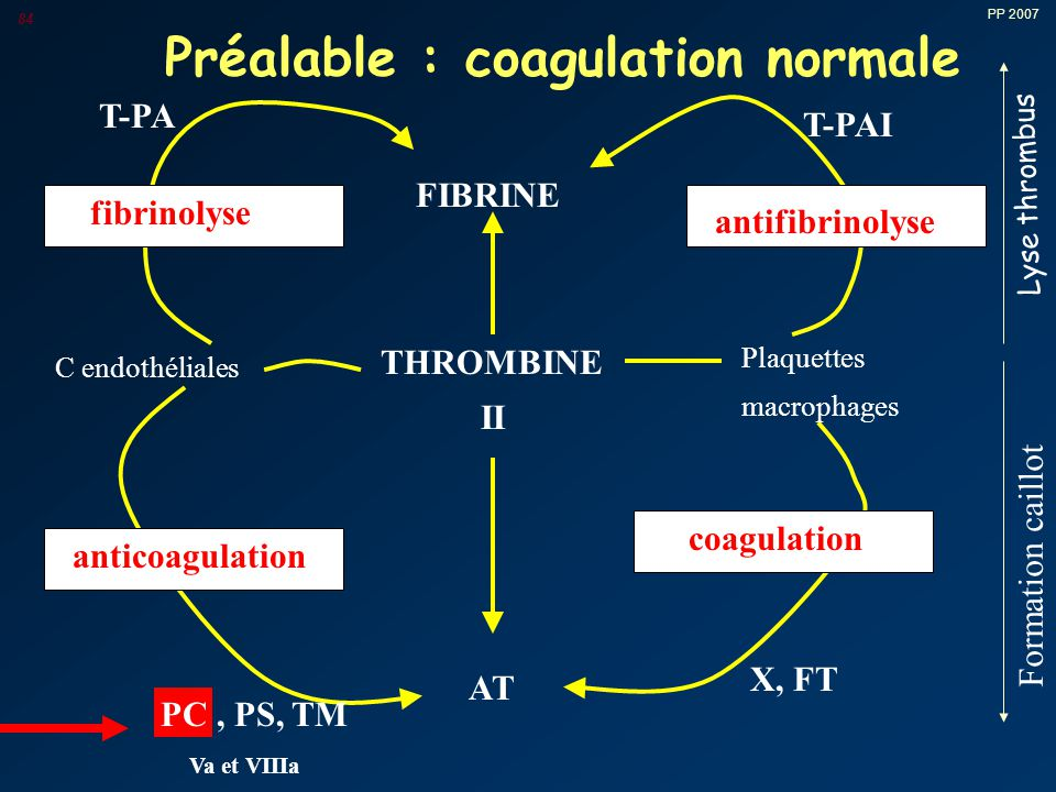 Préalable : coagulation normale