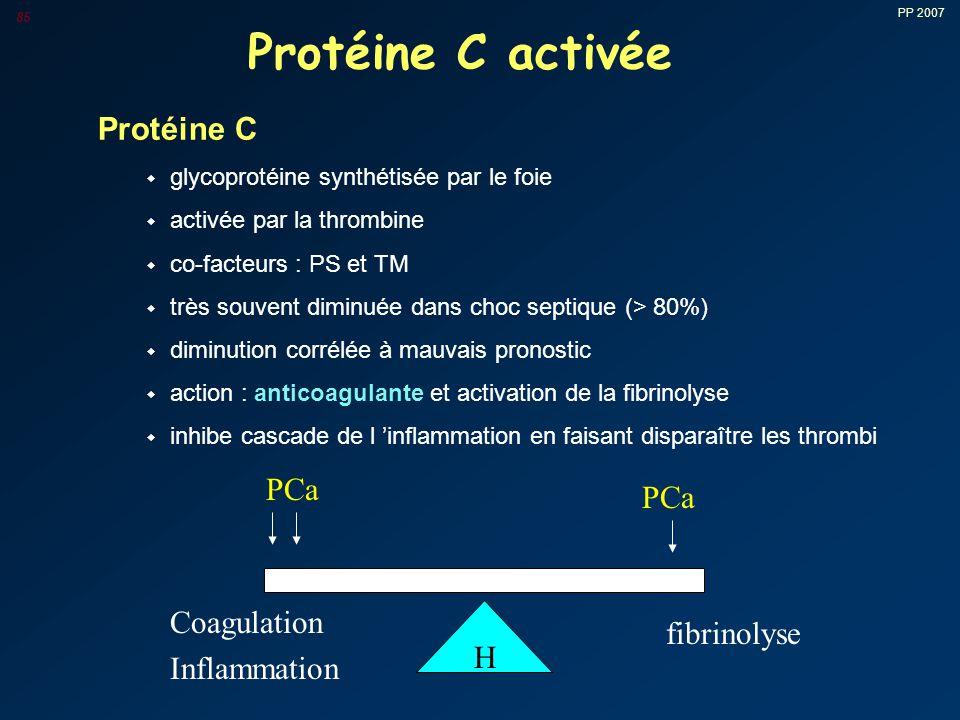 Protéine C activée Protéine C PCa PCa Coagulation Inflammation