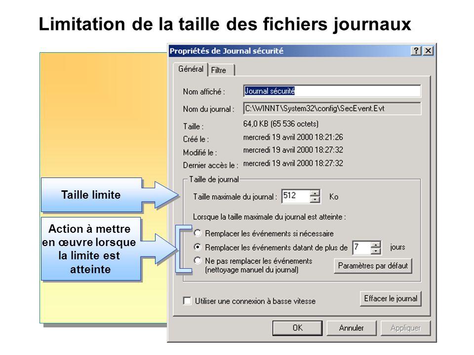 Limitation de la taille des fichiers journaux