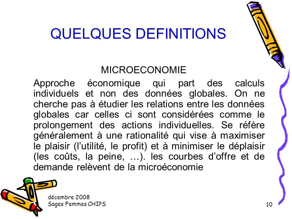 QUELQUES DEFINITIONS MICROECONOMIE