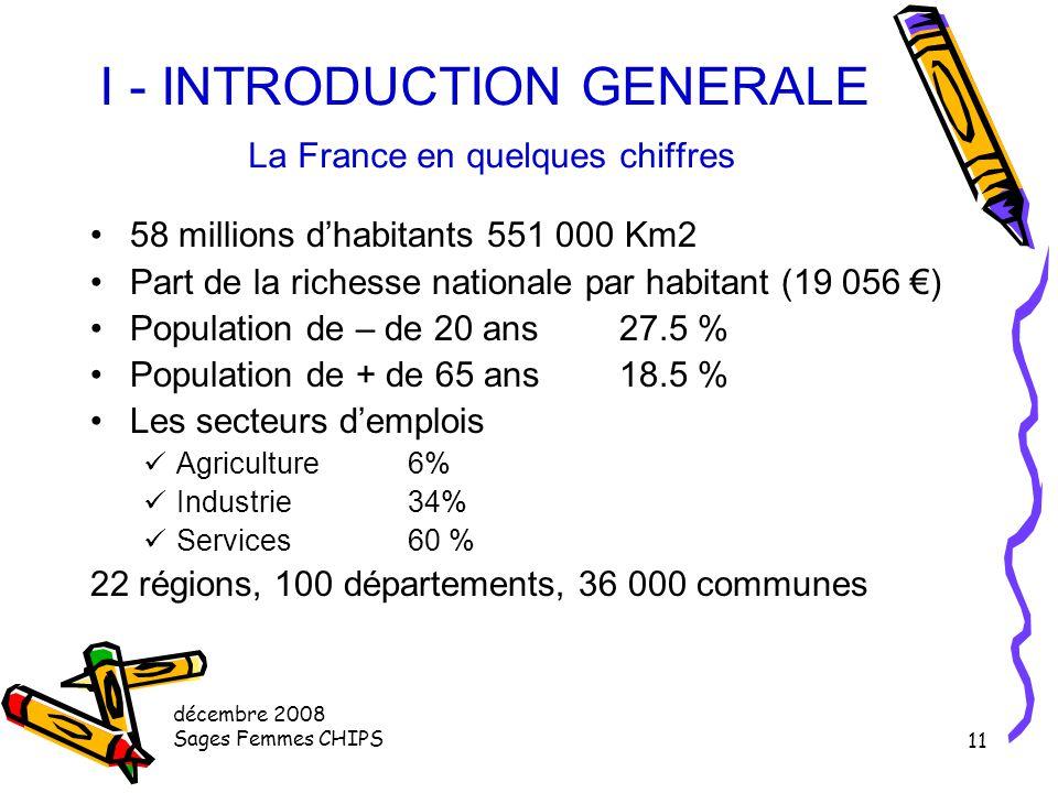 I - INTRODUCTION GENERALE La France en quelques chiffres