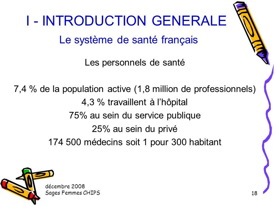 I - INTRODUCTION GENERALE Le système de santé français