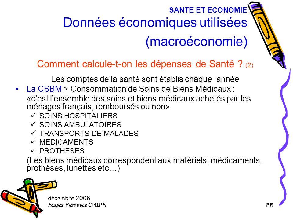 SANTE ET ECONOMIE Données économiques utilisées (macroéconomie)