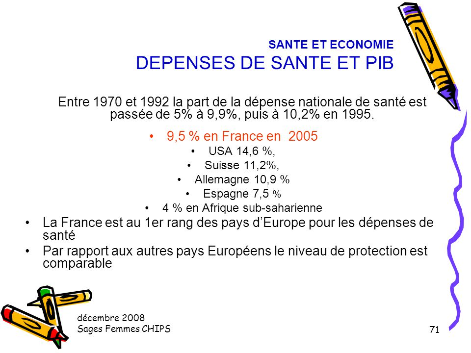 SANTE ET ECONOMIE DEPENSES DE SANTE ET PIB