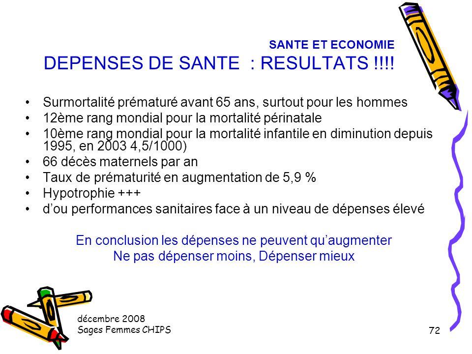 SANTE ET ECONOMIE DEPENSES DE SANTE : RESULTATS !!!!