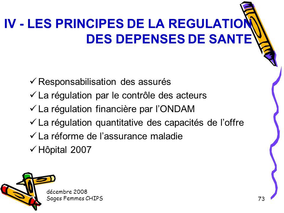 IV - LES PRINCIPES DE LA REGULATION DES DEPENSES DE SANTE