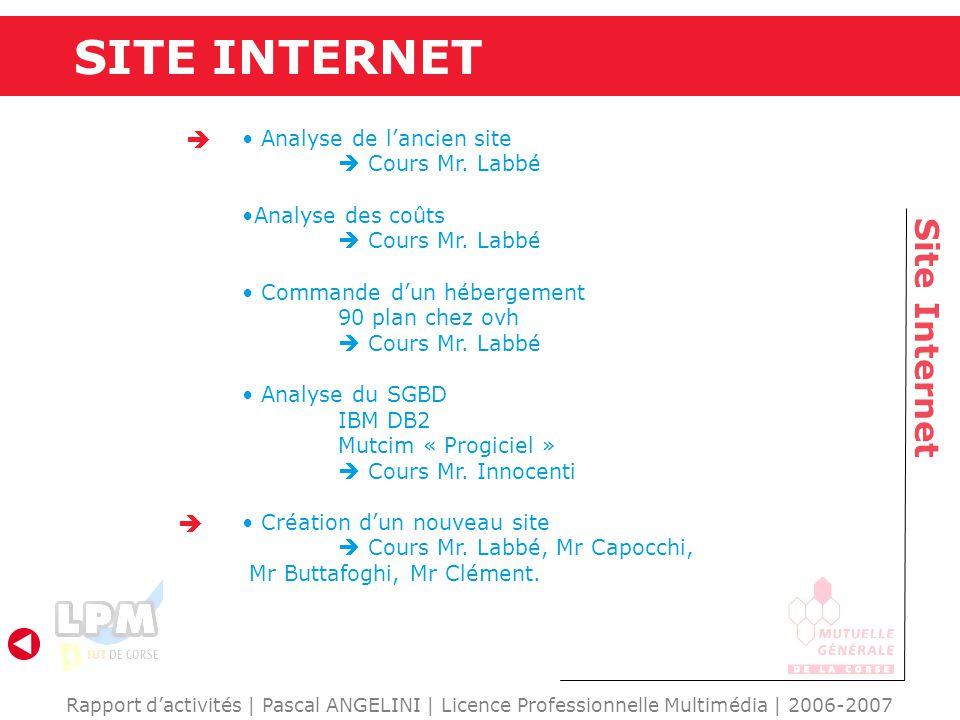 SITE INTERNET Site Internet   Analyse de l'ancien site