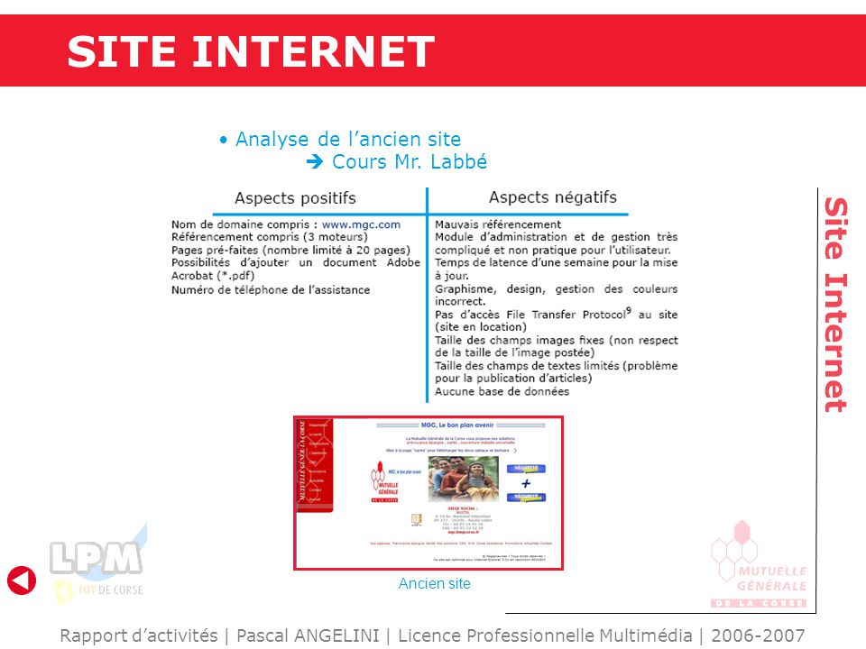 SITE INTERNET Site Internet Analyse de l'ancien site  Cours Mr. Labbé