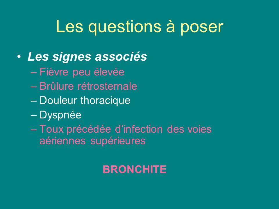 Les questions à poser Les signes associés Fièvre peu élevée