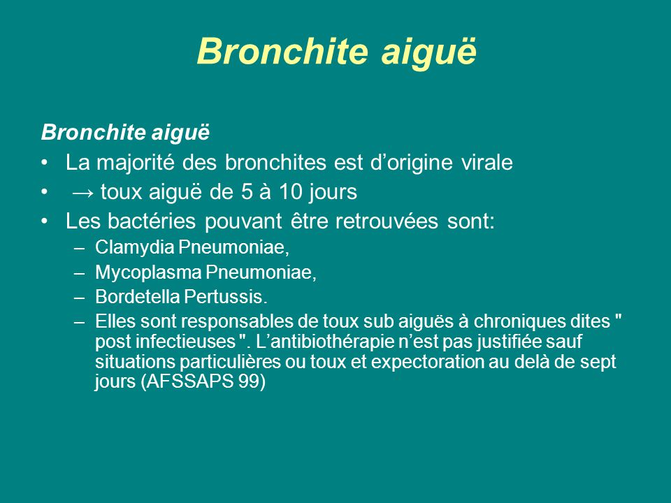 Bronchite aiguë Bronchite aiguë