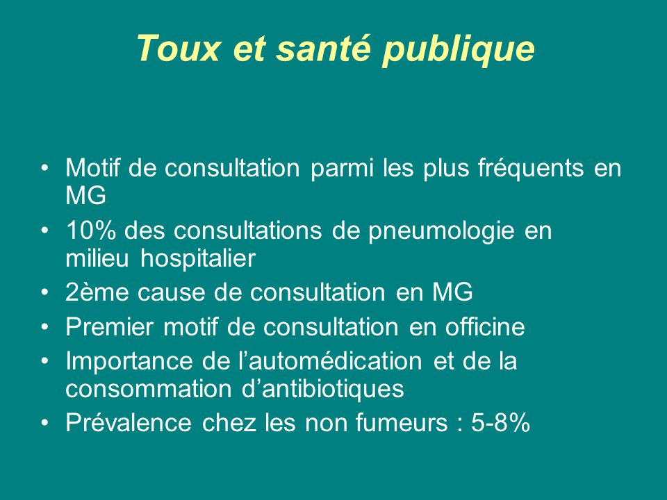 Toux et santé publique Motif de consultation parmi les plus fréquents en MG. 10% des consultations de pneumologie en milieu hospitalier.