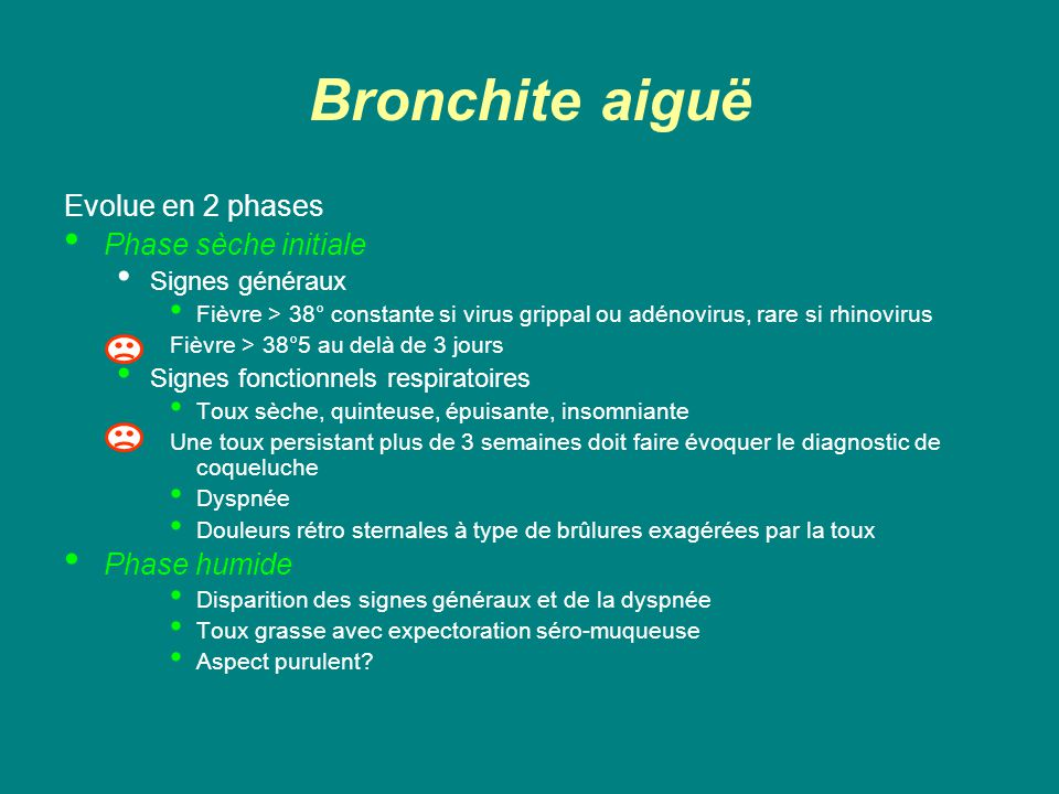 Bronchite aiguë Evolue en 2 phases Phase sèche initiale Phase humide
