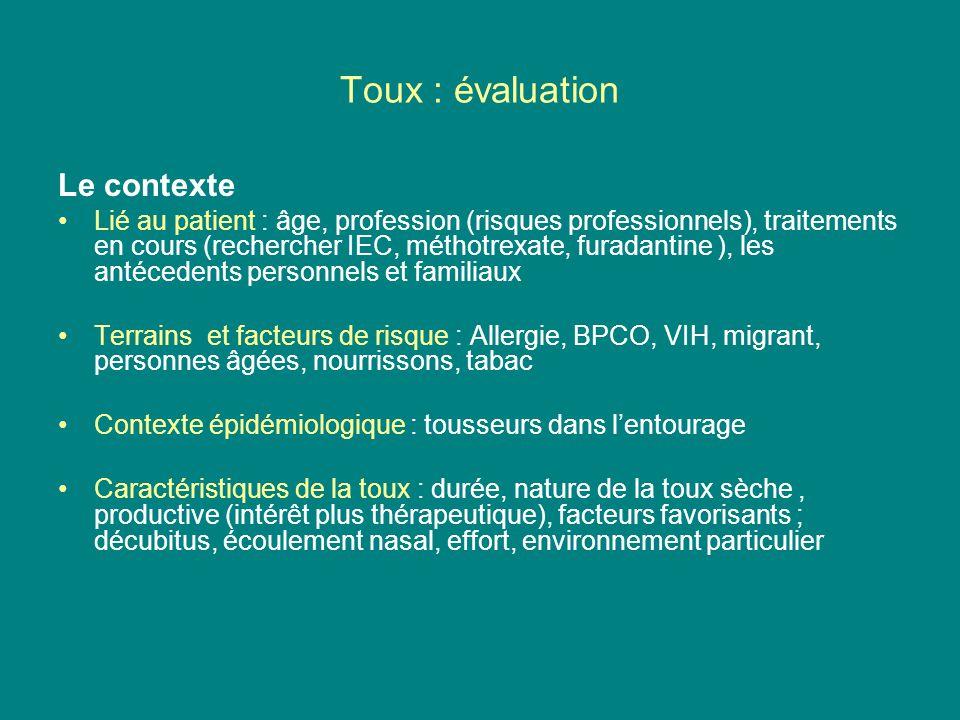 Toux : évaluation Le contexte
