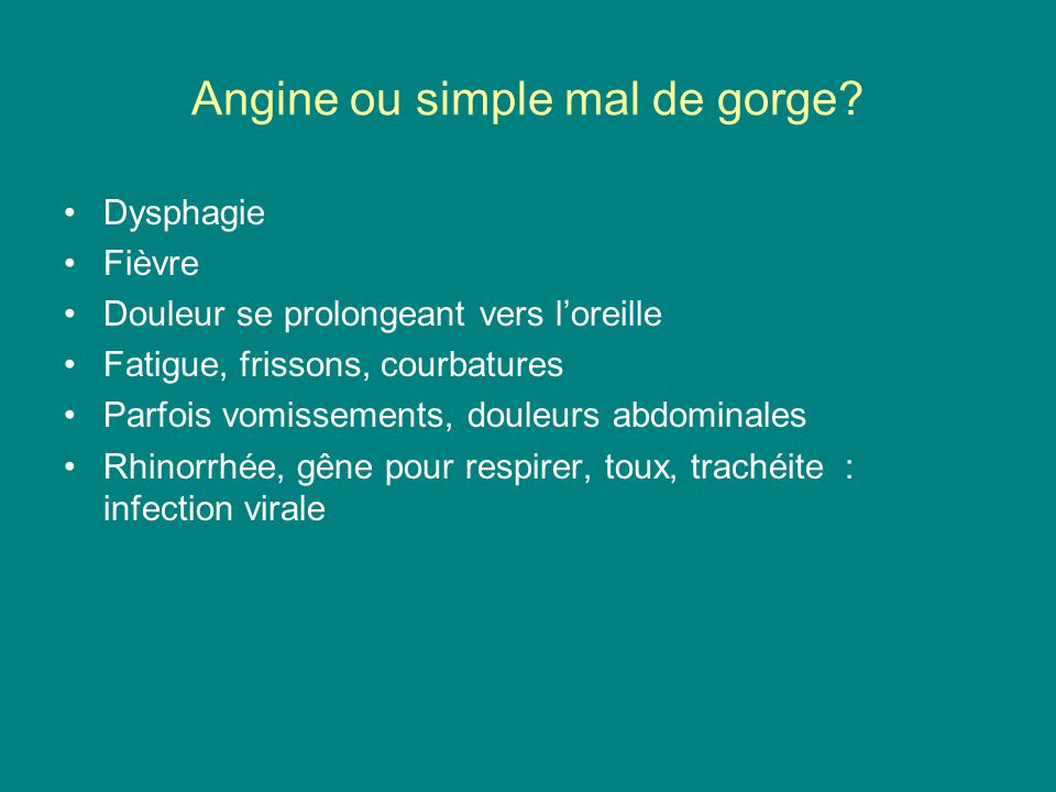 Angine ou simple mal de gorge
