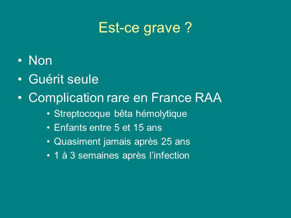 Est-ce grave Non Guérit seule Complication rare en France RAA