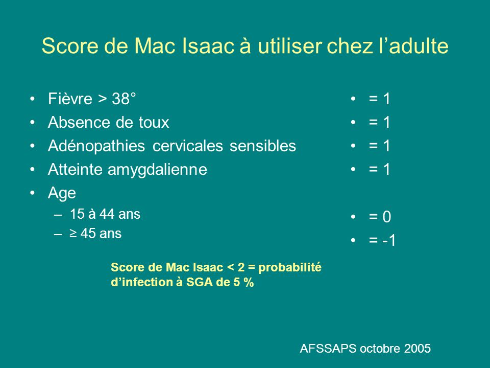 Score de Mac Isaac à utiliser chez l'adulte