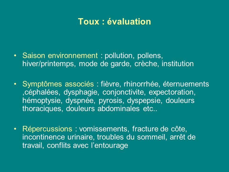 Toux : évaluation Saison environnement : pollution, pollens, hiver/printemps, mode de garde, crèche, institution.