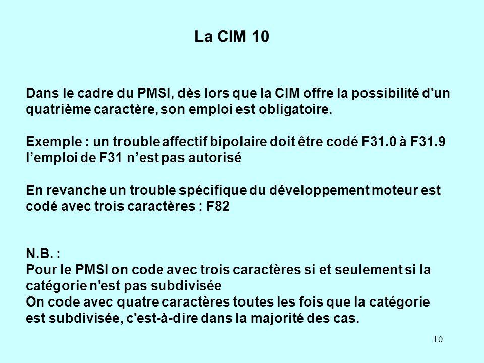La CIM 10 Dans le cadre du PMSI, dès lors que la CIM offre la possibilité d un quatrième caractère, son emploi est obligatoire.