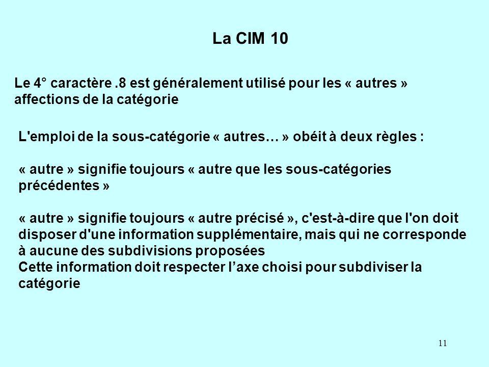 La CIM 10 Le 4° caractère .8 est généralement utilisé pour les « autres » affections de la catégorie.
