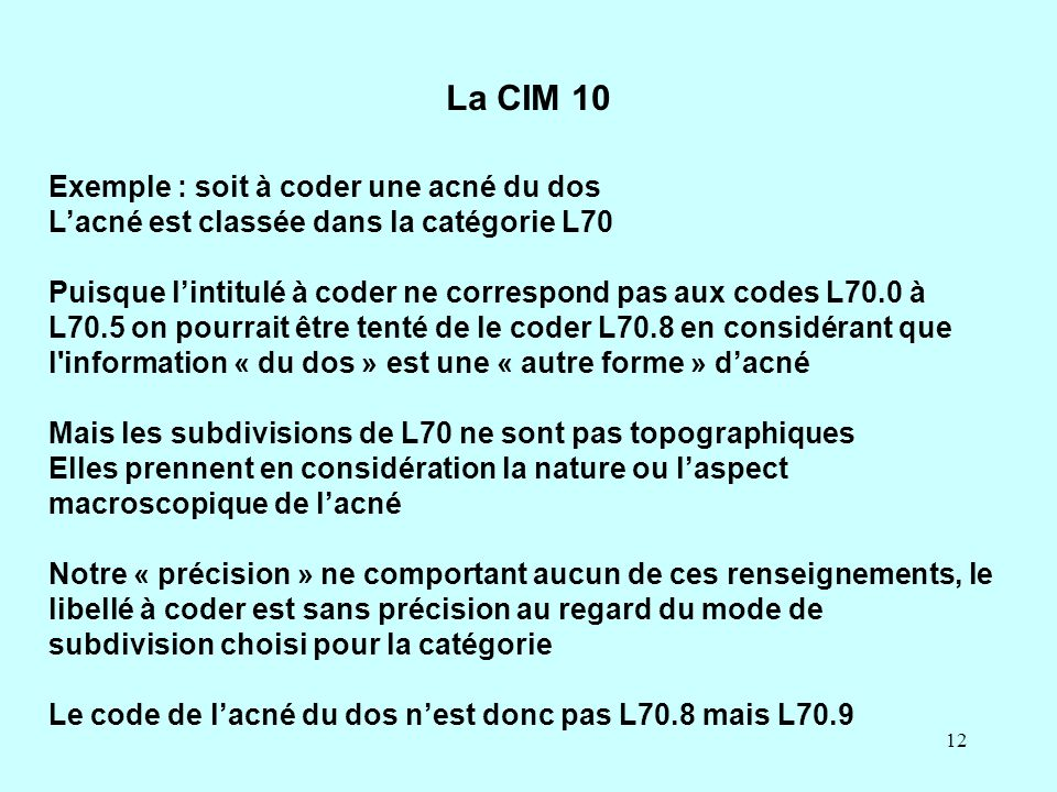 La CIM 10 Exemple : soit à coder une acné du dos