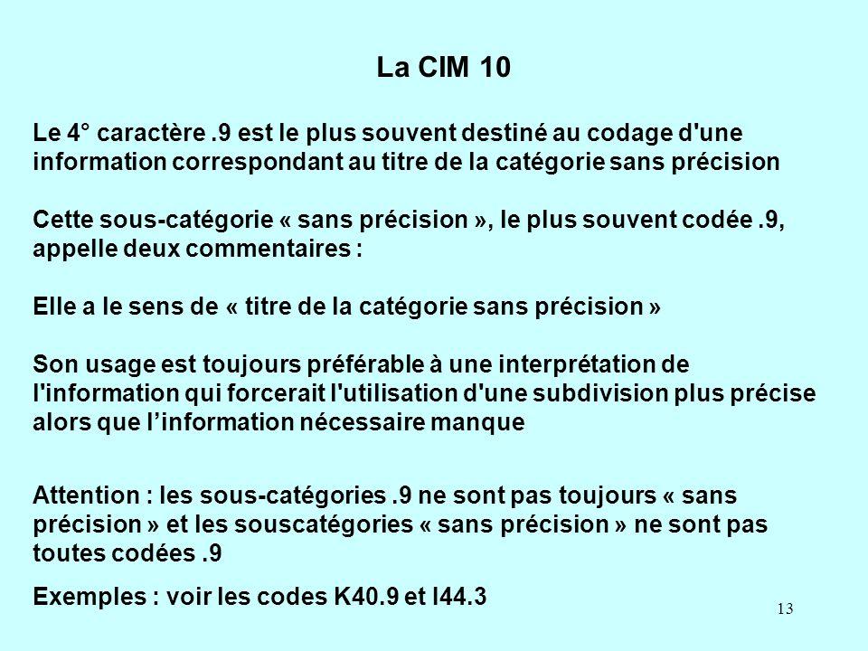 La CIM 10 Le 4° caractère .9 est le plus souvent destiné au codage d une information correspondant au titre de la catégorie sans précision.