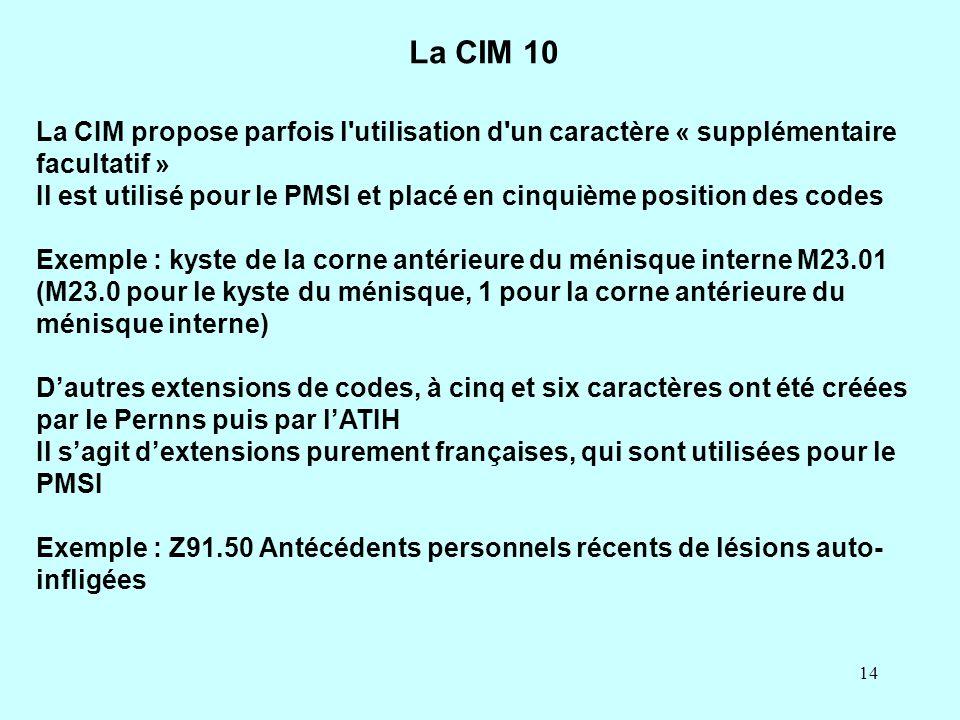 La CIM 10 La CIM propose parfois l utilisation d un caractère « supplémentaire facultatif »