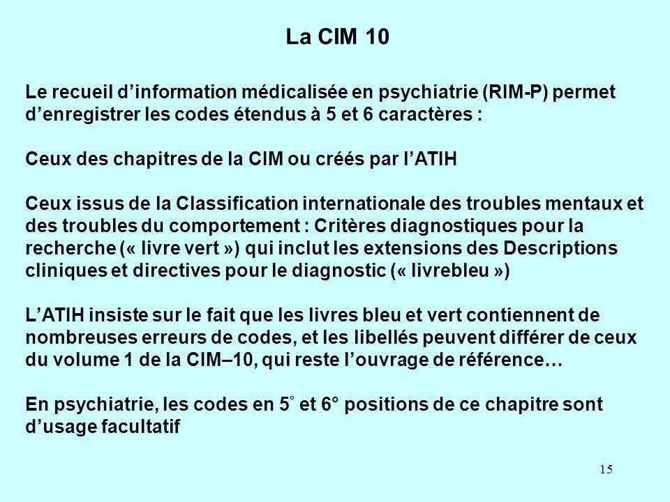 La CIM 10 Le recueil d'information médicalisée en psychiatrie (RIM-P) permet d'enregistrer les codes étendus à 5 et 6 caractères :