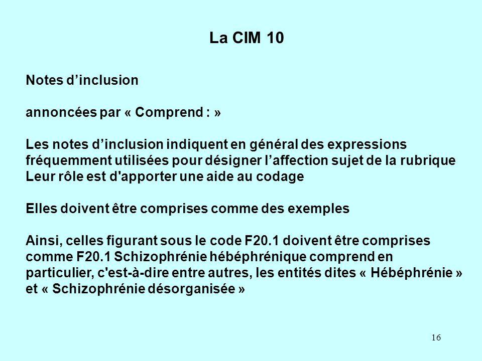 La CIM 10 Notes d'inclusion annoncées par « Comprend : »