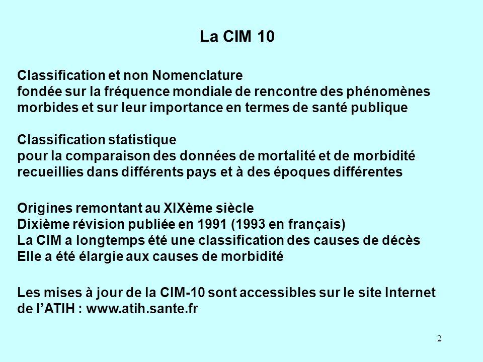 AUNIS, Présentation de la CIM 10