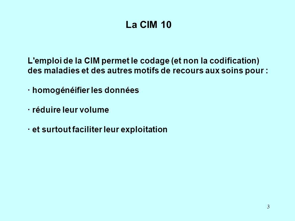 La CIM 10 L emploi de la CIM permet le codage (et non la codification) des maladies et des autres motifs de recours aux soins pour :