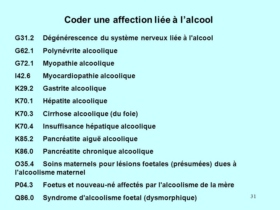 Coder une affection liée à l'alcool