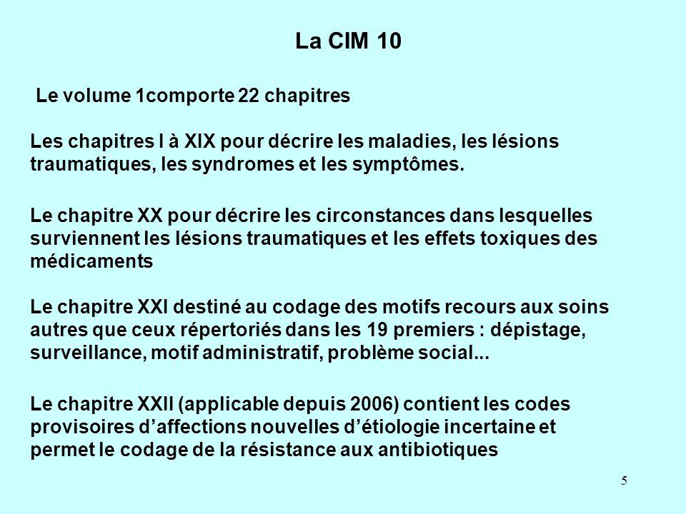 La CIM 10 Le volume 1comporte 22 chapitres