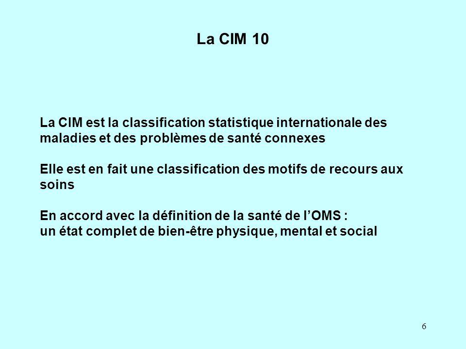La CIM 10 La CIM est la classification statistique internationale des maladies et des problèmes de santé connexes.