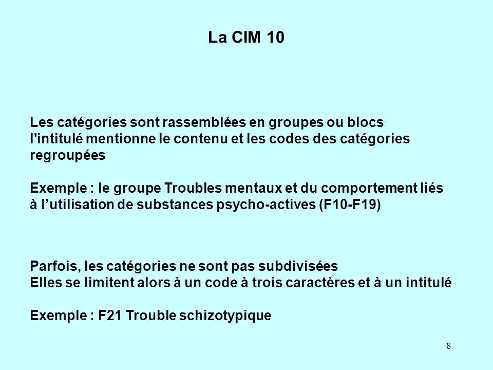 La CIM 10 Les catégories sont rassemblées en groupes ou blocs