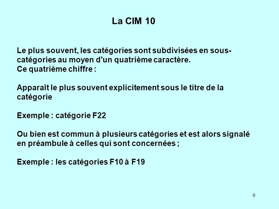 La CIM 10 Le plus souvent, les catégories sont subdivisées en sous-catégories au moyen d un quatrième caractère.