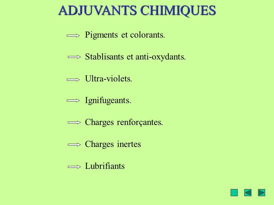 ADJUVANTS CHIMIQUES Pigments et colorants.