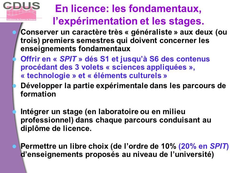 En licence: les fondamentaux, l'expérimentation et les stages.