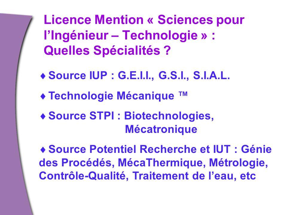 Licence Mention « Sciences pour l'Ingénieur – Technologie » : Quelles Spécialités