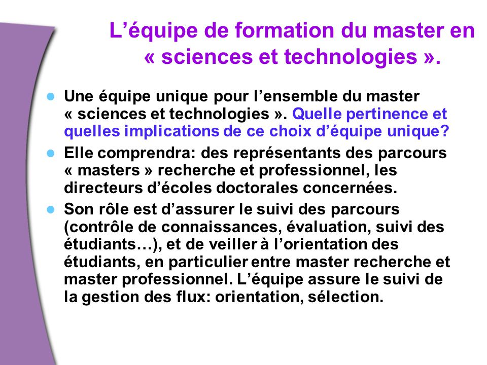 L'équipe de formation du master en « sciences et technologies ».