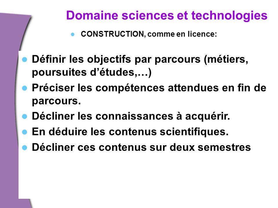 Domaine sciences et technologies